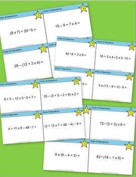 Order of Operations Task Cards Bundle