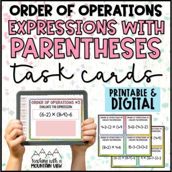 Order of Operations Task Cards { Common Core 5.OA.1 } BRACKETS & PARENTHESES