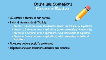 Order of Operations Task Cards- French Immersion