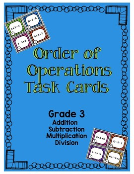 Order of Operations Task Cards Grade 3