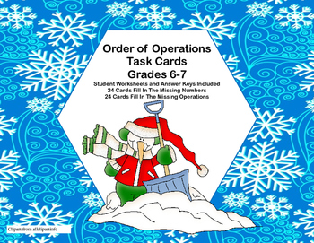Order of Operations- Task Cards-Grades 6-7-Find the Missing Number or Operation