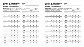 Order of Operations Task Cards Level 1 (with Images for Plickers)