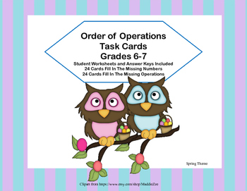 Order of Operations Task Cards-Missing Number or Operation-Spring