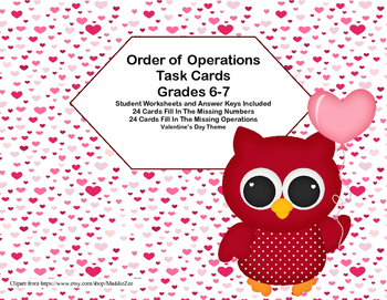 Order of Operations Task Cards-Missing Number or Operation