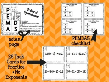 Order of Operations Task Cards - No Exponents