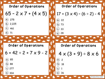 Order of Operations Task Cards - No Exponents - CC Aligned 3-6