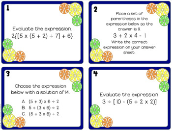 Order of Operations Task Cards - Parentheses, Brackets & Braces 5th Grade CCSS