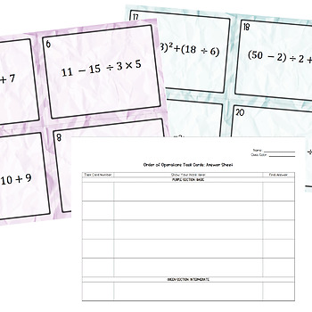 Order of Operations Task Cards - Positive & Negative Whole Number Answers