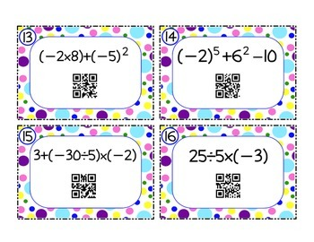 Order of Operations Task Cards: Positive and Negative Integers