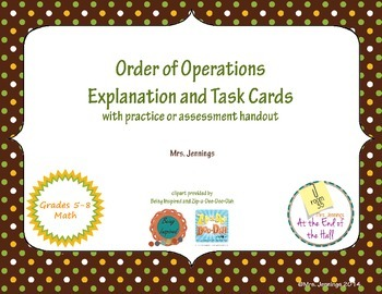 Order of Operations Task Cards, Reminder Sheet, and Warm-up or Assessment