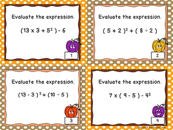 Order of Operations Task Cards - The Algebra Files (has parenthesis & exponents)