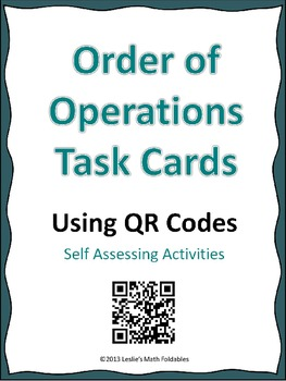 Order of Operations Task Cards Using QR Codes