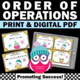 Order of Operations Task Cards Winter Math Activities Games Digital Easel