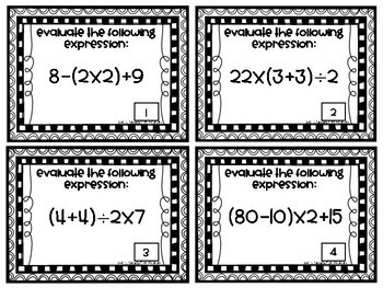 Order of Operations Task Cards-With Parentheses and Brackets-Common Core 5.0A.1