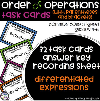 Order of Operations Task Cards with Parentheses and Brackets