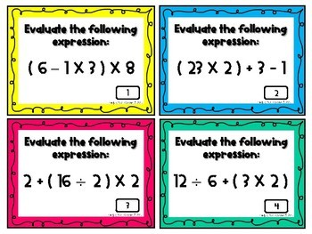#memoriesdeal Order of Operations Task Cards-With Parentheses-Common Core 5.0A.1