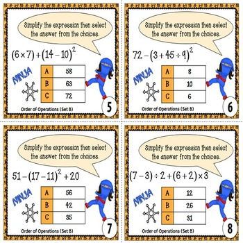 Order of Operations Task Cards {With Parentheses and Exponents}