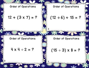 Order of Operations Task Cards and Worksheets