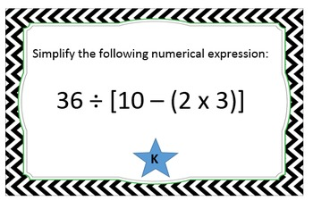 Order of Operations Task Cards for Practice