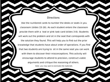 Order of Operations Task Cards to Seating Chart