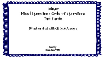 Order of Operations Task Cards with Integers