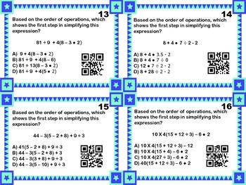 Order of Operations Task Cards with QR Codes