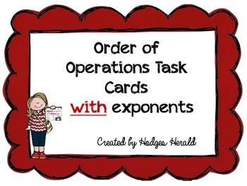 Order of Operations Task Cards (with exponents)