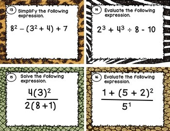 Order of Operations Task Cards with or without QR Codes (SOL 6.8)