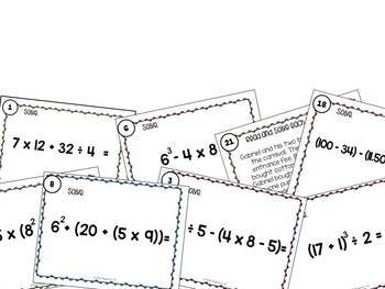Order of Operations Task Cards with & without QR codes