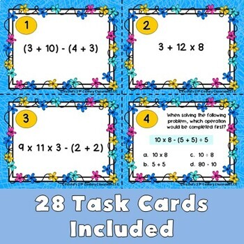 Order of Operations Task Cards (without exponents)