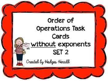 Order of Operations Task Cards (without exponents) Set 2