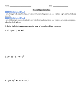 Order of Operations Test
