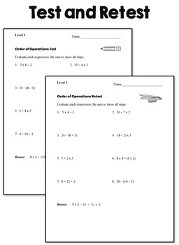Order of Operations Tests - Level 1