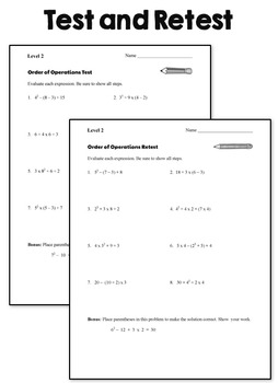 Order of Operations Tests - Level 2