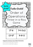Order of Operations Three-in-a-Row Game