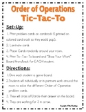 Order of Operations Tic Tac To