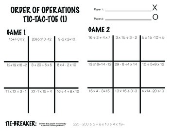 Order of Operations - Tic Tac Toe Partner Activity