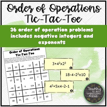 Order of Operations Tic-Tac-Toe with Negative Integers and Exponents