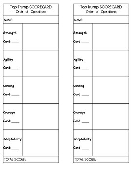Order of Operations Top Trumps Game