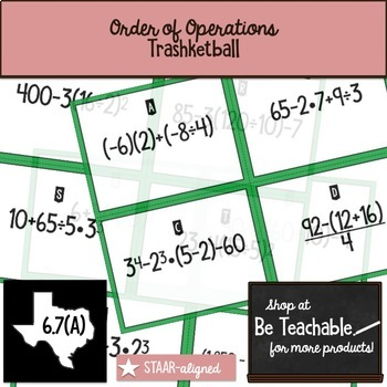 Order of Operations Trashketball (STAAR Test Prep / 6.7A)