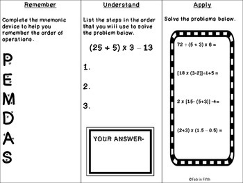 Order of Operations Tri-fold Common Core Standard 5.OA.1