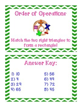 Order of Operations Triangle Matching Activity