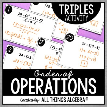 Order of Operations Triples Activity