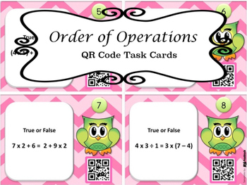 Order of Operations True False QR Task Cards