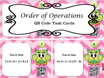 Order of Operations True False QR Task Cards