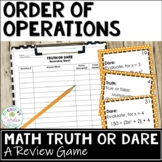 Order of Operations Truth or Dare Review Game