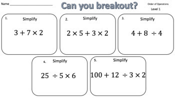 Order of Operations – Two Breakout Activities!