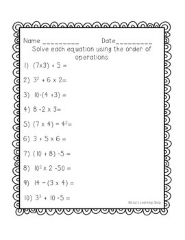 Order of Operations Visual Aid and Practice Worksheet (PEMDAS)