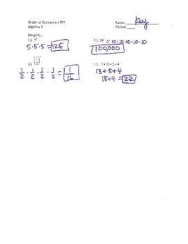 Order of Operations WS