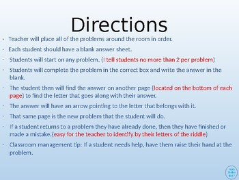 Order of Operations Walk Around or Gallery Walk with a Riddle